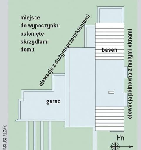 Fragment działki z domem zaprojektowanym na planie trójkąta