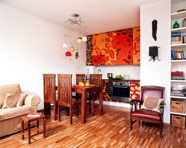kuchnia, aranżacja, wnętrze, meble, salon