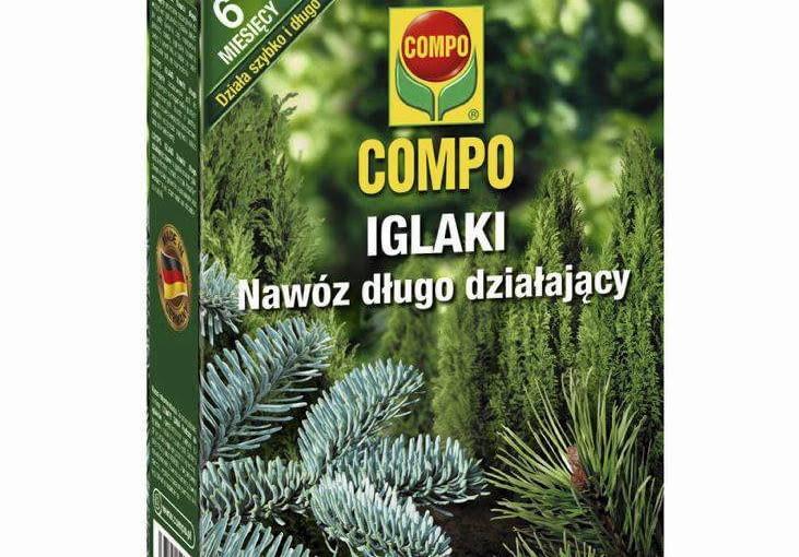 nawóz do iglaków i roślin ogrodowych Trio 3 w 1 (nawozi, długo działa i zapobiega brunatnieniu igieł), ok. 60 zł/4,5 kg, Compo