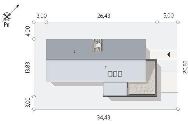 dom parterowy, projekty domów, działka