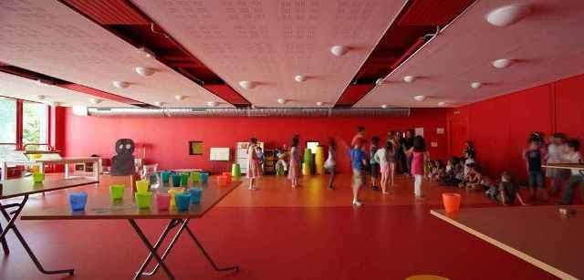 kolor, publiczne, paryż, fasada, szkoła, francja, sport