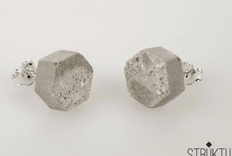Biżuteria z betonu, kolczyki marki Struku