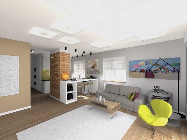 Projekt mieszkania - salon z aneksem