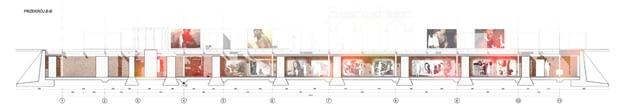 Adaptacja Podziemi Pałacu Saskiego na siedzibę Muzeum Utraconego - przekrój