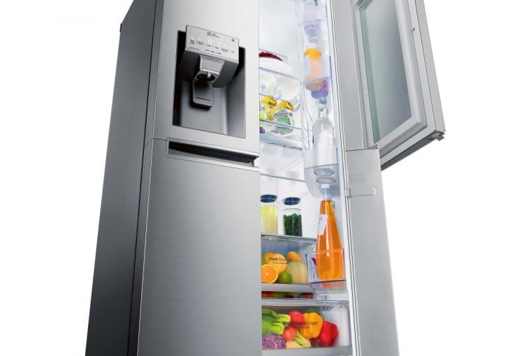 INSTAVIEW DOOR-in-DOOR, poj. chłodziarki 405 l, poj. zamrażarki 196 l, 91 x 73 cm, wys. 179 cm, funkcje: FreshBalancer (produkty pozostają dłużej świeże), sterowanie zdalne wzór LG