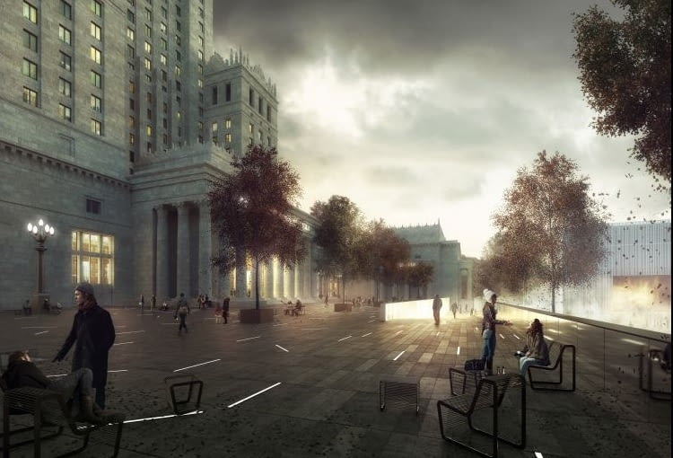 Jedna z pięciu nagrodzonych prac w konkursie na projekt placu Centralnego