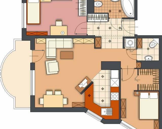 Propozycja 2. Podobnie jak w poprzedniej wersji, układ pomieszczeń się nie zmienił. Zostawiłem osobną toaletę, natomiast garderobę proponuję wydzielić z sypialni rodziców. Chociaż pokój jest nieco mniejszy, mieści się w nim duże łóżko oraz szafki.