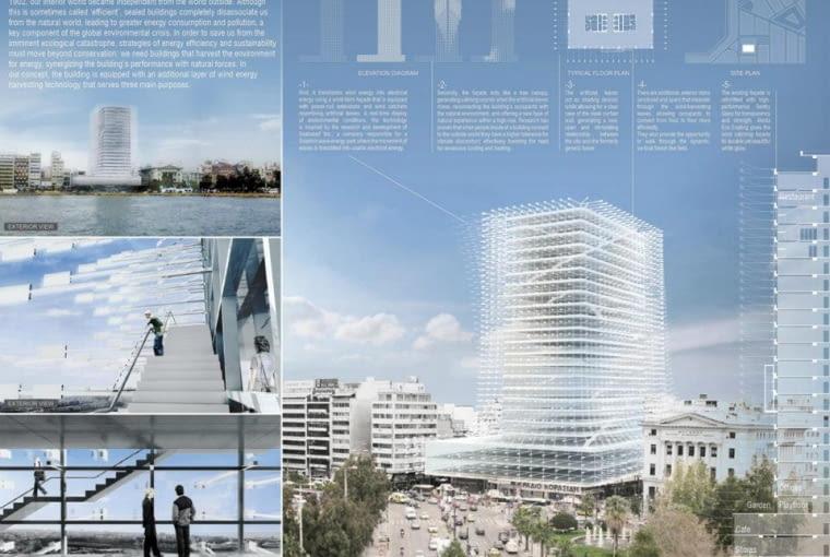 W zwycięskiej koncepcji przebudowy Pireus Tower Matthiasa Hollwich'a i Marc'a Kushner'a specjalna fasada miała wykorzystywać naturalną siłę wiatru do obniżania temperatury we wnętrzach budynku