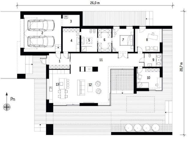 Plan domu: 1. Wiatrołap 8,6 m2; 2. Garaż 38,9 m2; 3. Kotłownia 5,7 m2; 4. Pom. gospodarcze 13,3 m2; 5. Łazienka 10,4 m2; 6. Garderoba 8,7 m2; 7. Sypialnia 15,3 m2; 8. Pokój hobby 17,3 m2; 9. Łazienka 6,7 m2; 10. Pokój dziecka 14,8 m2; 11. Komunikacja 34,2 m2; 12. Salon 38,6 m2; 13. Kuchnia z jadalnią 22,1 m2