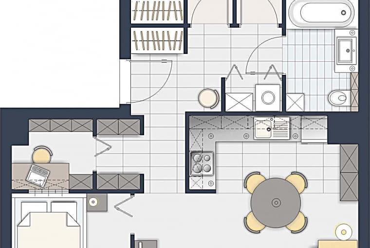 Dwa średnie pokoje przeznaczyłam dla dzieci, w najmniejszym jest sypialnia rodziców. Tuż przy niej, w miejscu toalety, powstał malutki gabinet. Aneks kuchenny, tak jak Pani sugerowała, jest osłonięty stołem.