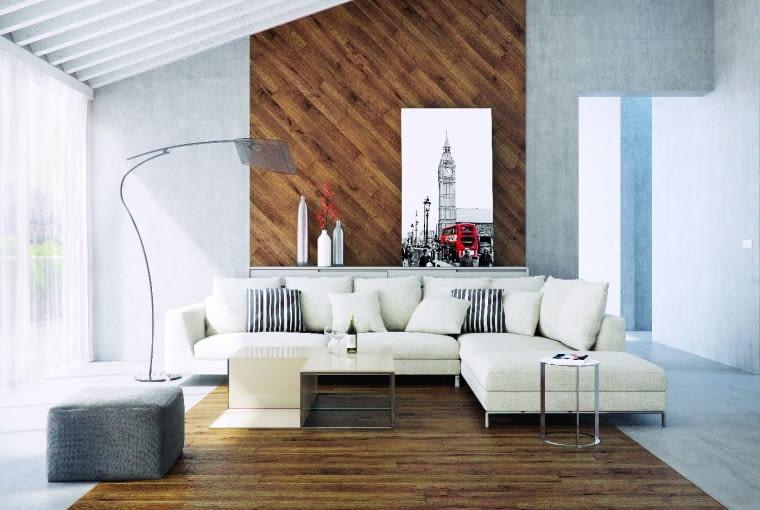 Harmonijny zestaw, czyli to samo drewno ina podłodze, ina ścianie. Ten ciepły materiał ciekawie wygląda zestawiony zchłodnym betonem.