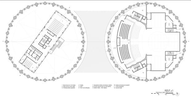 Projekt adaptacji dawnych zbiorników gazu na centrum kultury - rzut +I