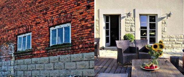 Okna przed i po. Większość istniejących w budynku otworów trzeba było poszerzyć, z jednej strony po to, by lepiej doświetlić wnętrza, z drugiej - w celu poprawienia wyglądu elewacji. Dwa niewielkie okienka dawnej chlewni wychodzące na tył gospodarstwa wymieniono na drzwi tarasowe. Wszystkie okna, ze względu na nietypowe wymiary, wykonano na zamówienie.
