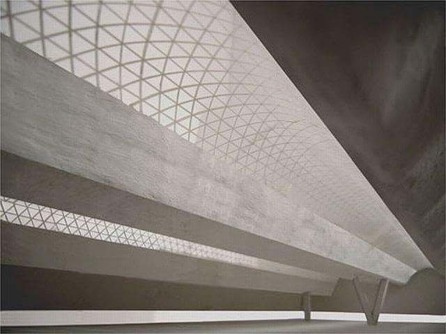 Pierwsze, koncepcyjne wizualizacje pochodzące z makiety muzeum. Christian Kerez pracę nad koncepcją muzeum oparł głównie na plastycznym przedstawieniu w formie prostych makiet.