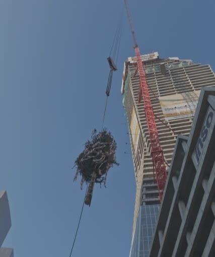 Wiecha na wieżowcu Złota 44, zaprojektowanym przez Daniela Libeskinda