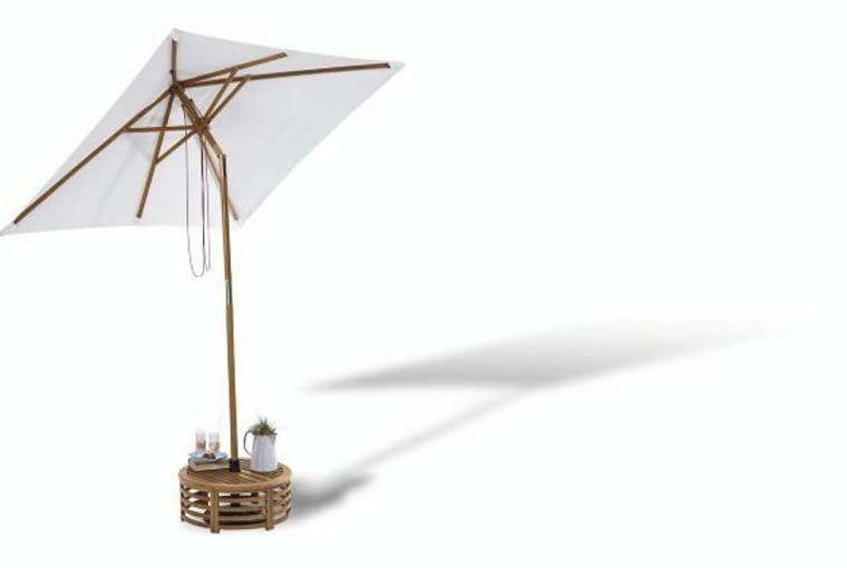 Przegubowy parasol z podstawą - ministolikiem; parasol: 299 zł, podstawa: 199 zł