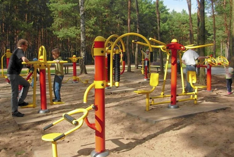 Leśny Park Kultury i Wypoczynku Myślęcinek, Bydgoszcz, siłownia na wolnym powietrzu,