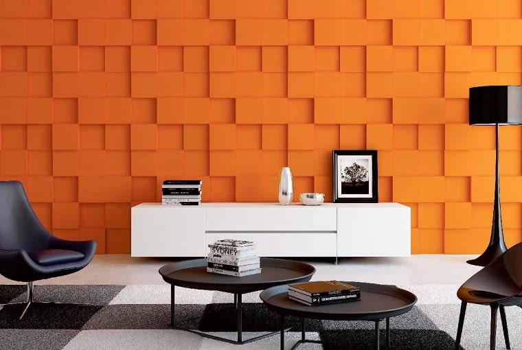 Rubik/ARTPANEL. Faktura wzoru wprowadza do wnętrza dynamikę i futurystyczny design; 72 x 72 cm, grubość 1,5-4 cm. Cena: 110 zł (szt.), www.artpanel.pl