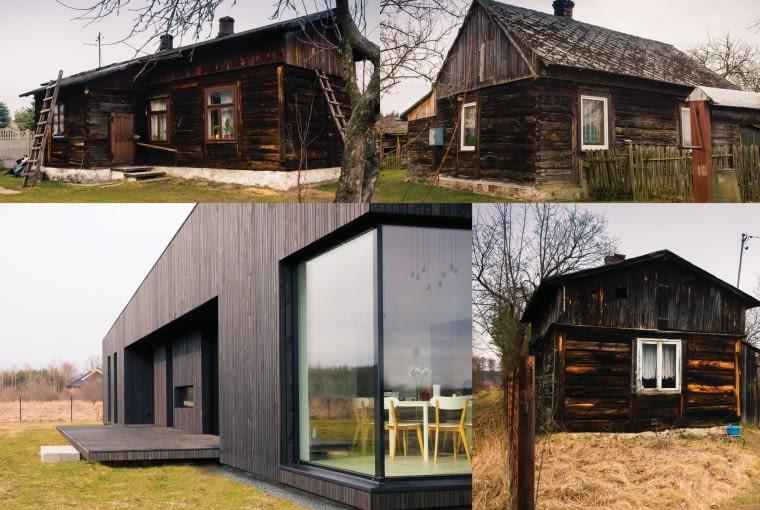 dom na łące, dom jak stara chata, nowoczesny dom