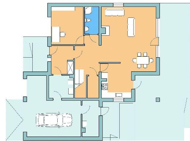 Dom z przestrzenią gospodarczą, rzut parteru