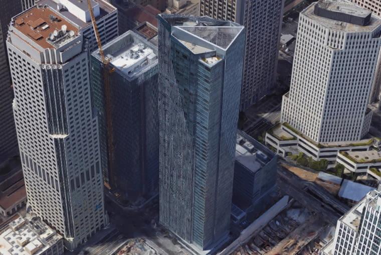 Wieżowiec Millennium Tower, San Francisco, model Google Maps