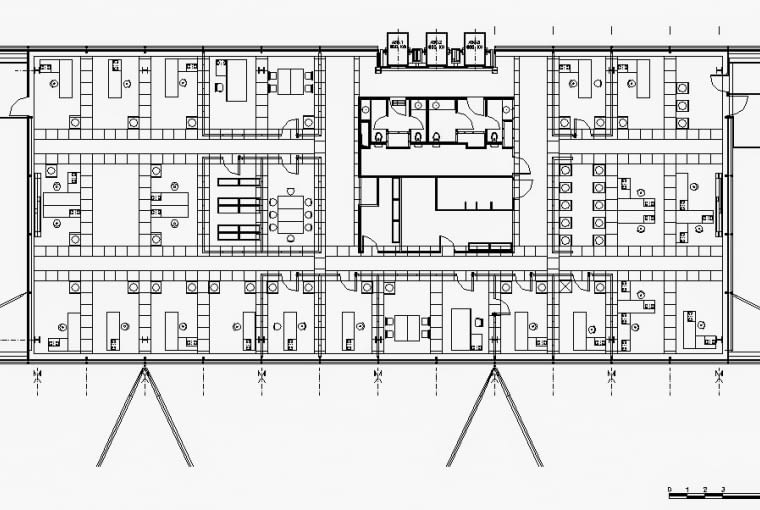 Budynek Fundacji Cartiera w Paryżu, rzut kondygnacji biurowej, źródło: www.jeannouvel.com