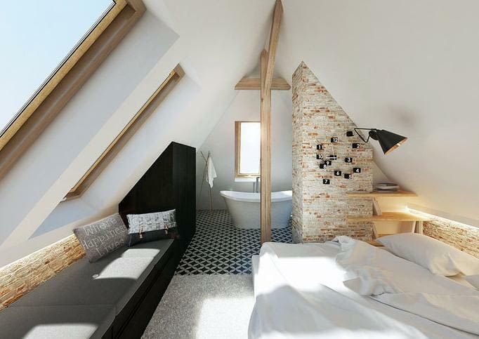 łazienka na poddaszu, okna dachowe, adaptacja poddasza