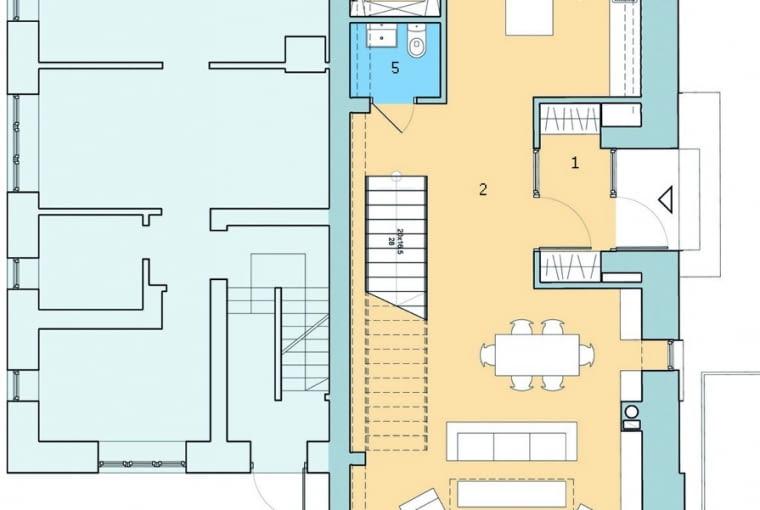 dom jednorodzinny, dom-bliźniak, parter, rozkład pomieszczeń w domu