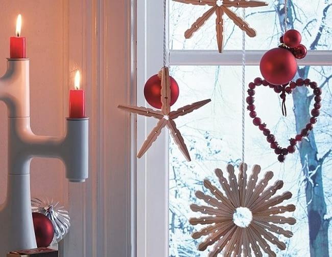Świąteczne gwiazdki ze spinaczy, ozdoby świąteczne, Boże Narodzenie, dekoracje