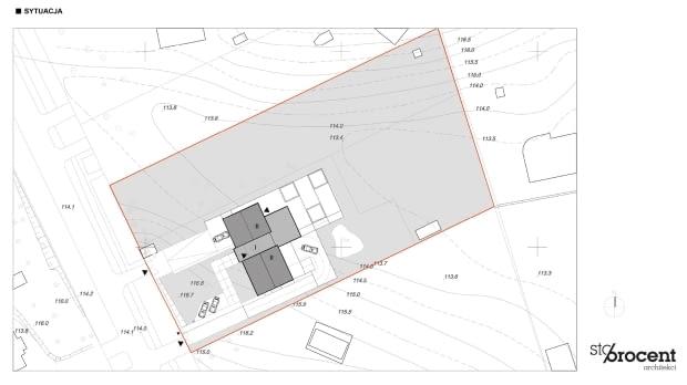 Projekt przebudowy domu z Zalesia Górnego - sytuacja
