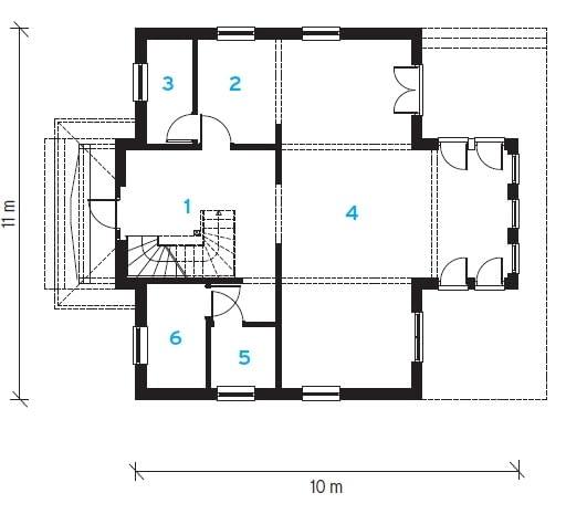 1. korytarz 19,6 m2 2. kuchnia 7,8 m2 3. spiżarnia 4,4 m2 4. pokój dzienny 51,5 m2 5. w.c. 3,6 m2 6. pom. techniczne 5,6 m2