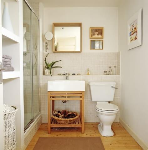 łazienka, drewno, drewniana podłoga w łazience