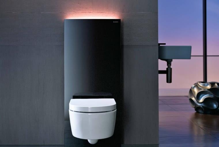 Monolith Plus, moduł sanitarny WC ze zintegrowaną spłuczką i oświetleniem LED zmieniającym kolor, około 5200 zł, Geberit