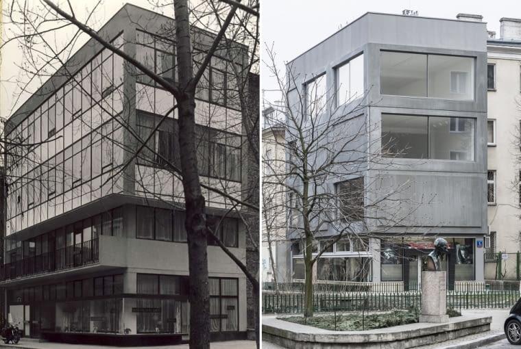 Budynek Galerii Foksal dawniej i dziś