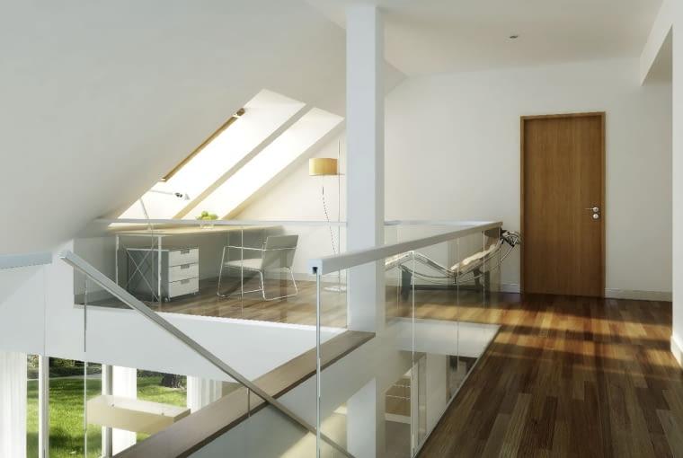 dom nowoczesny, antresola, okna dachowe