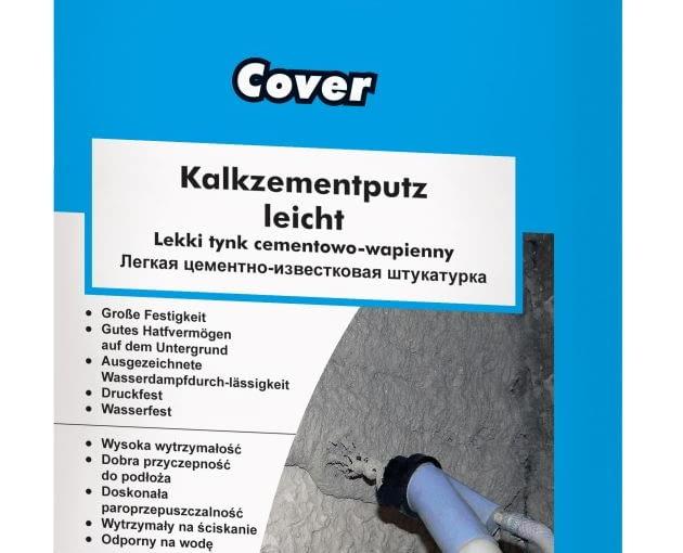 Knauf Cover Lekki tynk cementowo-wapienny na zewnątrz i wewnątrz budynków, cena netto opakowanie 25 kg: 19,99 zł