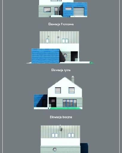 Dom z przestrzenią gospodarczą, widok elewacji