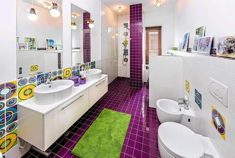 płytki łazienkowe, kolorowe płytki