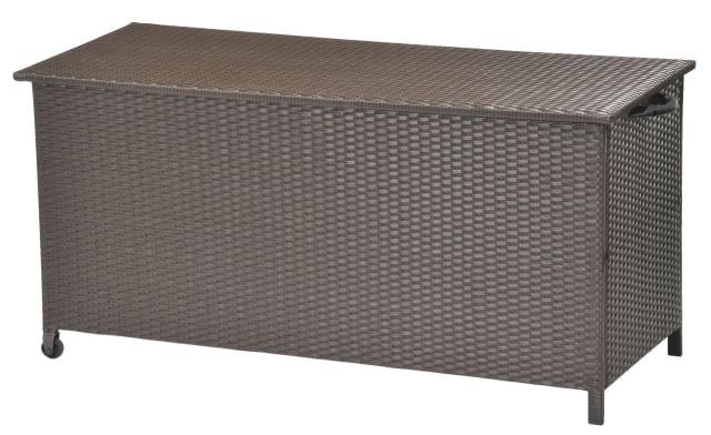 Skrzynia do przechowywania (poduszek, narzędzi ogrodowych itp.), na kółkach. Z ciemnobrązowego tworzywa sztucznego (pentanu) i stali. Wymiary: szer. 133 cm, wys. 63 cm, gł. 55 cm, cena: 499 zł. Jysk