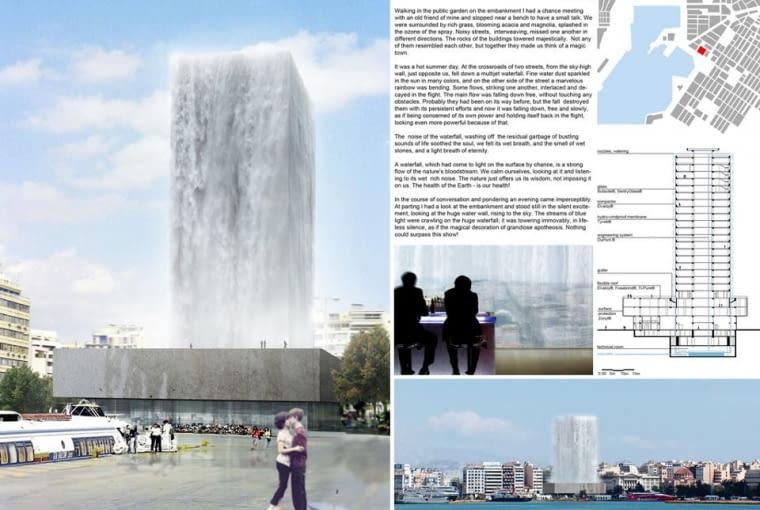 Duet Danira Safiullina i Iriny Prytkovej proponował ukryć fasadę Pireus Tower za ścianami z wodospadu