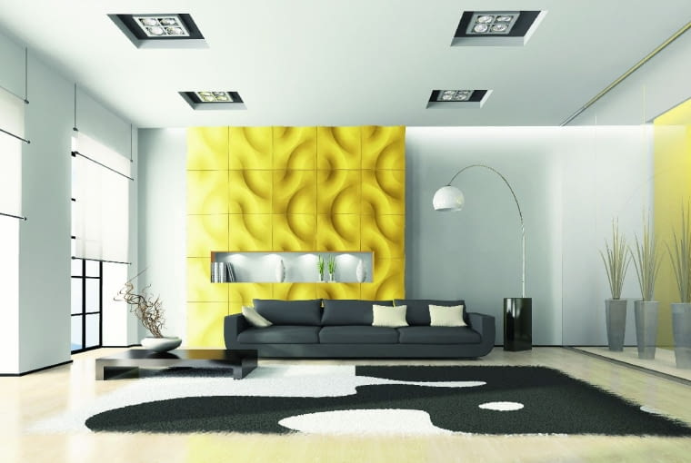 -Modern interior with sofa and white carpet 3D