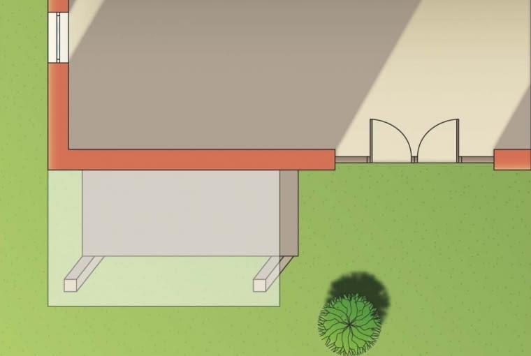 Dzięki przesunięciu zadaszenie tarasu nie zacienia okien