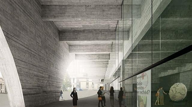 Najnowsza wizja podcieni Muzeum Sztuki Nowoczesnej od strony nowego placu miejskiego, który powstanie przed głównym wejściem do Pałacu Kultury