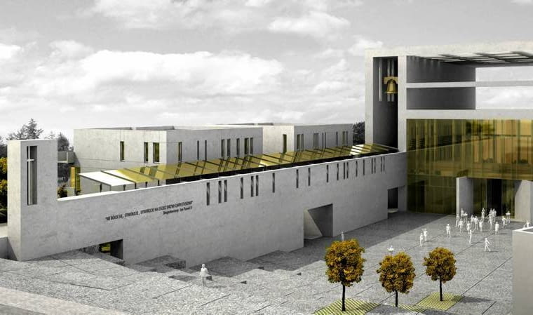 Projekt kościoła, który zwyciężył w konkursie architektonicznym, ale nie zyskał akceptacji metropolity