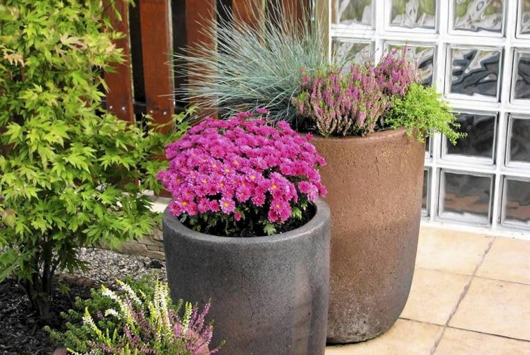 A| Taras oddzielony został od sąsiadów ścianą z luksferów. W sezonie zdobią go donice pełne kwitnących roślin. Projekt ogrodu.