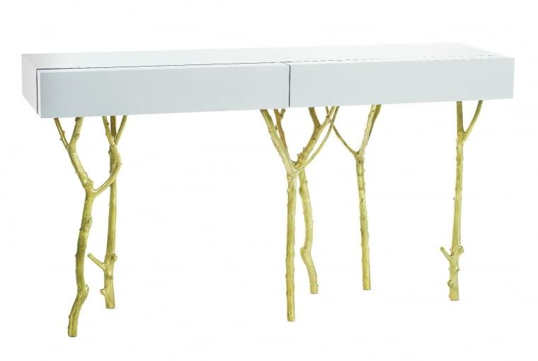 Fig tree Oryginalne nogi to odlane w mosiądzu gałązki drzewa figowego. Blat z dwiema szufladami z lakierowanego drewna. Wzór, Ginger & Jagger