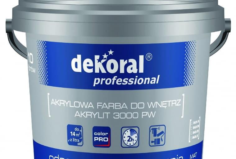 Akrylit 3000 PW Dekoral Professional/PPG DECO POLSKA| Rodzaj: farba lateksowa | odporność na szorowanie: klasa 3 wg normy PN-EN 13300 | wydajność: do 14 m2/l | stopień połysku: matowa | kolory: biały + kolory w systemie Color Pro | opakowania: 5 l, 10 l, 15 l (biały); 1 l, 2,8 l, 10 l (baza LN, DN, ZN, ZX). Cena: 95,40 zł/5 l, www.dekoralprofessional.pl