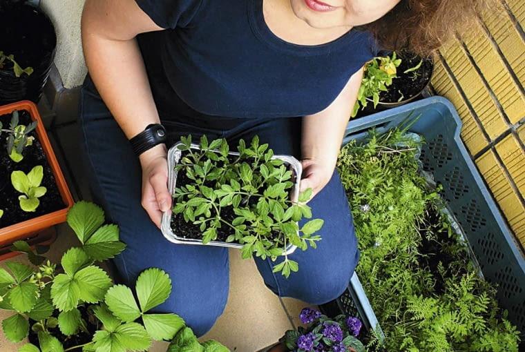 Iga Kolodziej prowadzi warsztaty ogrodnicze i bloga Mint & Lavender SLOWA KLUCZOWE: kobieta portret balkonowy ogrodnik