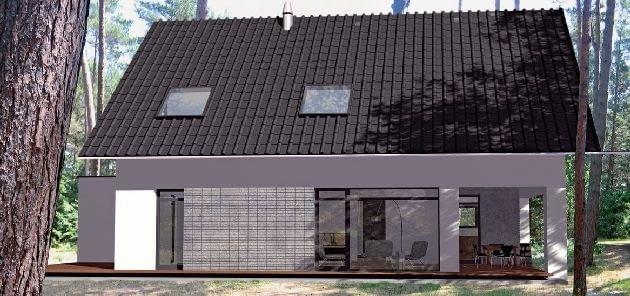 Zwarta bryła przykryta dachem dwuspadowym, z dużymi, prostokątnymi oknami