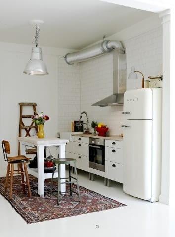 wnętrza, kuchnia, vintage, retro, biała podłoga